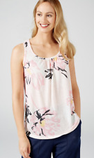 Kim & Co Silky Linen Look Knit Sleeveless Top with Ruching, Size XS, Blush Multi