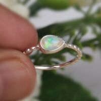 Hammered Design Stackable Opal Ring 925 Sterling Silver Gemstone Jewelry