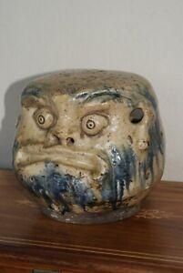 Antique Japanese Edo Seto Pottery Hands Warmer, Daruma Design