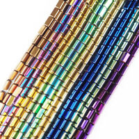 5x3mm Multicolor Faceted Hematite Oblong Loose Bead 15.5 Inch 544TS
