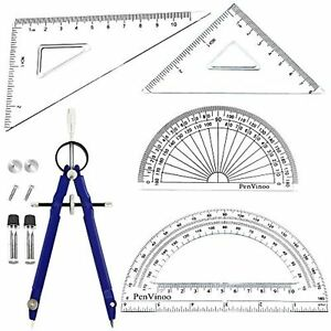 5Pcs Geometry School Set,with Quality Compass, Set Squares, Protractor,Drawing