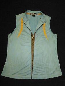 Jamie Sadock women's blue/yellow/brown stretch sleeveless golf shirt Sz M