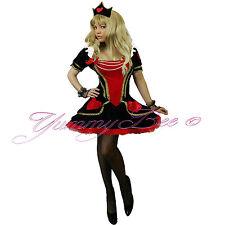 Yummy Bee Queen of Hearts Plus Size 6-22 Velvet Fancy Dress Costume Ladies Alice