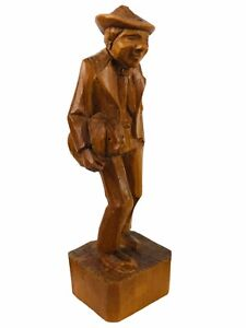 """Carved Wood Art Man Carrying A Pig Cute Lightweight Vintage Rare HTF 4.75"""""""