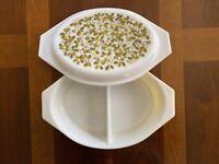 Pyrex AVOCADO GREEN VERDE 1 1/2 Qt Oval Casserole Dish Lid Olives & Leaves VTG