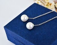 New Genuine 925 Sterling Silver Elegant White Pearl Dangle Drop Earrings Jewelry