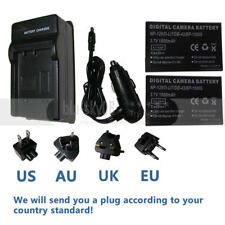 2X NP-120 3.7V Battery Pack + Charger For Fuji FinePix Optio 450 F10 F11 D-LI7