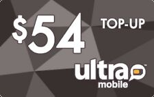 Ultra Mobile  Prepaid $54 Refill Top-Up Prepaid Card ,PIN / RECHARGE