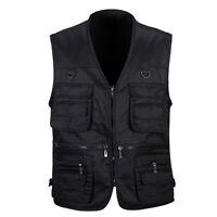 Mens Gilet Jacket Tool Vest Sleeveless Multiple Pocket Waistcoat Work Dress Coat