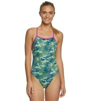 SPEEDO Women's Turns Camo Crush One Back One Piece Competition Swimsuit Army