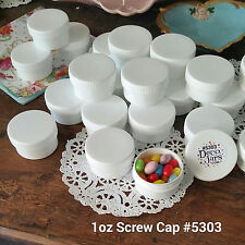 NEW! 10 White JARS 1 oz White Caps Wide Mouth Container Screw Cap 5303  DecoJars