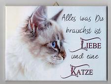 Dekofliese Wandbild Bildfliese Decoupage Katzenmotiv Katze Spruch ... (081DP)