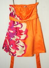 ORANGE PINK WHITE LADIES FLORAL TOP BLOSUE SIZE 10 LIPSY PARTY SEAUIN DECORATION