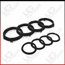 Black Gloss Set Front Rear Grille Badge Rings Logo Emblem Audi A4 B7 ABC Plastic