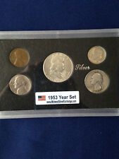 1953 United States Five Coin Silver Year Set Classic Coins in Display Case