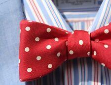 Bow Tie Club Gentleman's Bright Red Polka Dot Print Self-Tie Silk Bow Tie -- USA
