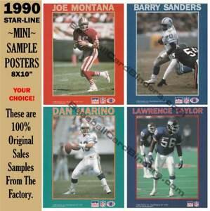 1990 STARLINE NFL MINI-POSTER SAMPLES ~ JOE MONTANA, DAN MARINO ~ BARRY SANDERS