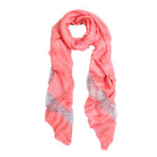 Solid Color Frayed Edge Sequin Stripe Glitter Scarf - Different Colors Avail
