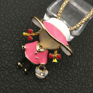 Betsey Johnson Pink/Green Enamel Opal Lovely Girl Pendant Sweater Necklace