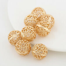 8mm Gold Plated Metal Hollow Flower Spacer Beads For Bracelets Necklace Jewelry