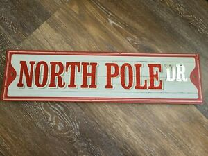 """NEW Wood & Metal Christmas Wall Yard Sign """" North Pole DR """" 23 x 6 Red Glitter"""