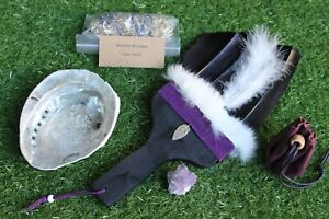 Black Smudge Feather Kit incl Lge Abalone Shell - Sage - Amethyst - Pouch (1)