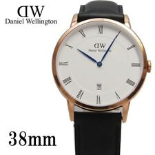 NEW Daniel Wellington Dapper  38mm  Rose Gold Black Leather Mens Watch 1101DW