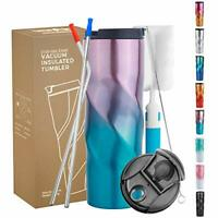 16oz Stainless Steel Tumbler Double Wall Vacuum Insulated Travel Mug Cup w/Straw