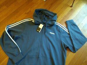NWT Adidas Men's Training Full Zip Zipper 3-Stripes Fleece Hoodie Jacket FI0848