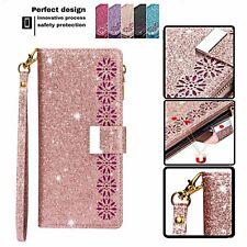 Bling Glitter Leather Wallet Strap Flip Stand Phone Case Laser Carving Pattern