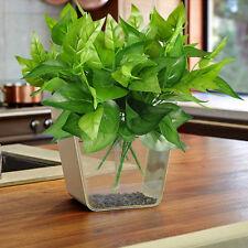 Artificial Fake Green Scindapsus Aureus Plastic Plant Home Garden Decor Vase Pot