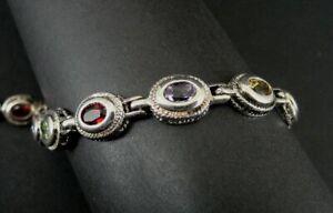 """Bracelet Multi Color Stones Gold Vermeil Accents Sterling Silver Tennis 6"""" Long"""