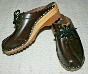 Troentorp Brown Leather Clogs lace up Slip On Shoes Womens 39 US 9 9.5 Sweden