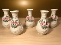Set of 5 Porcelain Bisque Floral Mini Vases with Pink White Green Flowers