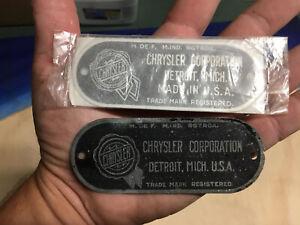 CHRYSLER CORPORATION Data Manufacturer Tag serial number Vin Grill Original