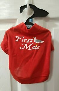 """FIRST MATE Dog Tee Shirt T-shirt RED Nautical XXS East Side Collection NWT 8"""""""