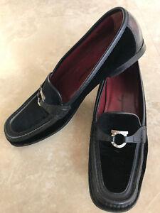 Salvatore Ferragamo Women's Black Leather Velvet Loafers Shoes Crystals 9.5N