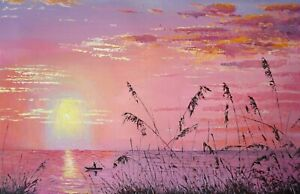 Original Oil Painting On Canvas - Landscape - Sunset of Reed Marshes