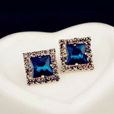 Fashion Chic Lady Square Gem Full Rhinestone Stud Earrings HotLAD