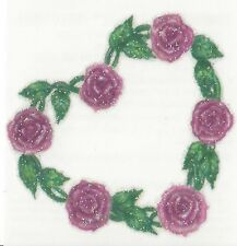 GLITTER Belly Button HEART PINK ROSES Temporary Tattoo