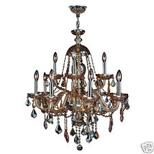 CLEARANCE SALE Provence Italian 12 Light Amber Crystal Chandelier 28x31 Two Tier
