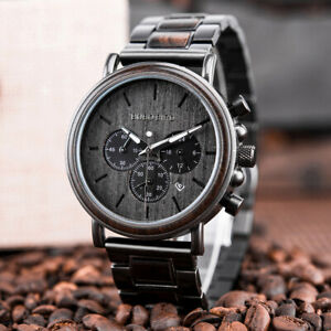 BOBO BIRD Engraved Men Wood Watch Quartz Luminous Multifunction Wrist Watch