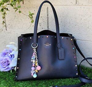 COACH Charlie Carrier rivets leather carryall Handbag Shoulder bag 52244 purse