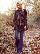 NWT Free People Smooth Talker Floral Print Boho Tunic Dress Raven Combo Black M