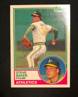 STEVE BAKER 1983 TOPPS AUTOGRAPHED SIGNED AUTO BASEBALL CARD 6T A'S