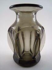 Vase Verre épais Fumé ART DECO 1930 1940 Six Facettes Stylisé Thick smoked glass