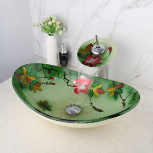Hand Paint Green Bathroom Oval Basin Mixer Faucet Waterfall Spout Tap Overmount