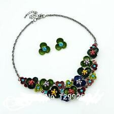 Victorian Style Multi Color  Flower Floral Crystal Stud Necklace Earring