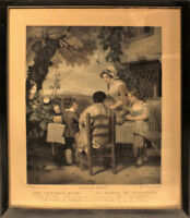 Antique 1798 George Keating Mezzotint Family Dinner Cottage Door After Wheatley