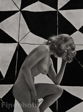 1950s Vintage GRAPHIC FEMALE NUDE Mid Century ZOLTAN GLASS Photo Engraving Art